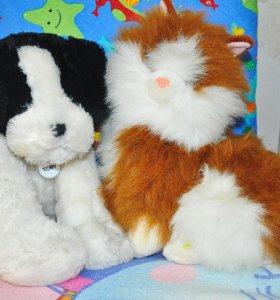 Мягкие музыкальные игрушки щенок и кошка
