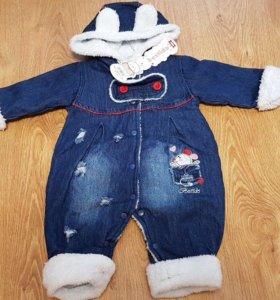 Модный детский джинсовый комбинезон весна-осень