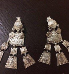 якутские серебряные серьги