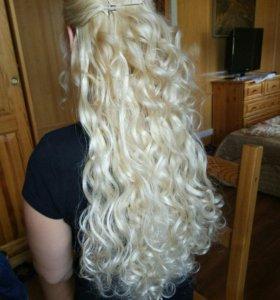Волосы, пряди на заколках