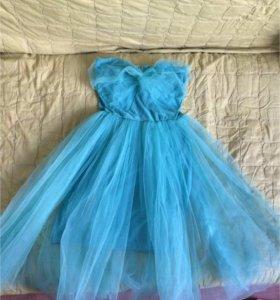 Платье мятное с фатином р. 42-44