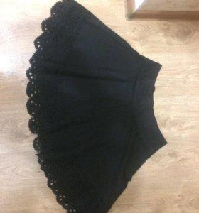 Школьная юбка для девочки с кружевами