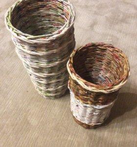 Корзинки из бумажной соломки любого размера