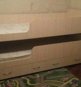 Выдвижная кровать для двоих детей с орто матрасами