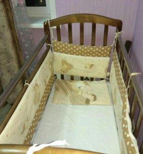 Кроватка с матрасом, бортиками и балдахином