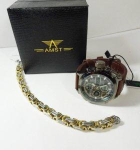 Стальной комплект - часы АМСТ и браслет