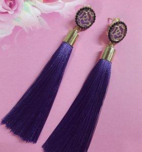 Серьги кисточки фиолетовые