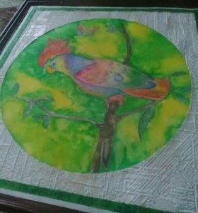 Картина попугай. Самодельная.