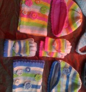 Комплекты - шапка, шарф, митенки