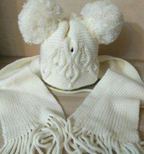 Новая зимняя шапка с шарфом,р-р 48-50.