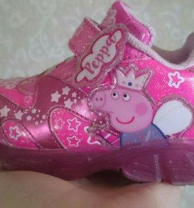 Кроссовки детские Свинка Пеппа светящиеся