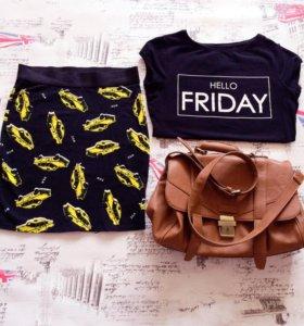 Юбка, футболка , сумка