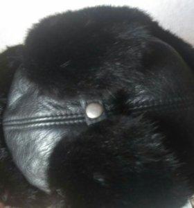 Норковая шапка из натурального меха и кожи