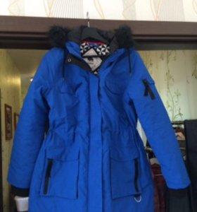 Женская зимняя новая куртка парка синего цвета
