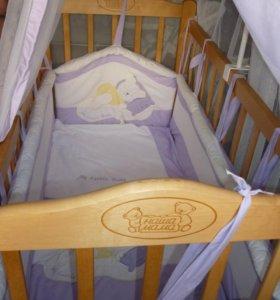 Кроватка,матрас,бортики