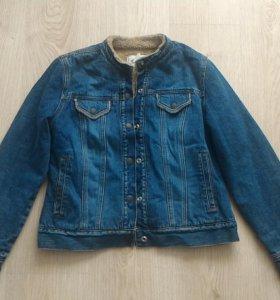 Джинсовая куртка на меху теплая