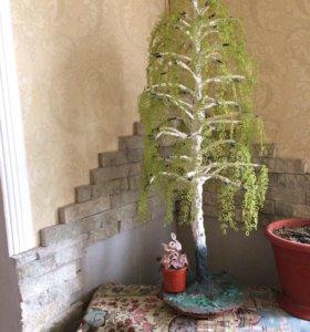 дерево береза из бисера