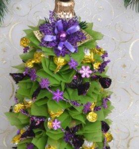 Ёлочек-елки из сизаля и конфет, подарки