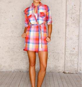 Новое платье-рубашка в красную клетку 58-60 р-р
