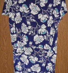 Новое синее платье с белыми цветами 50-54 р-р