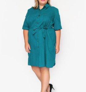 Новое платье-рубашка в зеленую клетку 60 р-р