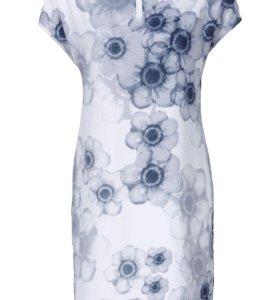 Новое бледно-синее платье с цветами 66-68 р-р
