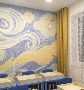 Роспись стен жидкими обоями и красками