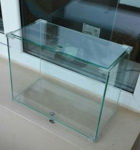 Стеклянный террариум/ аквариум.