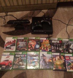 Xbox 360 + Киннект + 2 геймпада + 12 игр