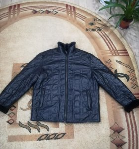Зимняя кожаная мужская куртка