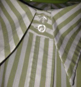 Блузка хб в бело-зеленую полоску