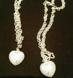 комплект браслет и цепь с кулоном посеребряный
