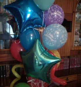 Фонтан из шаров с гелием и звездами