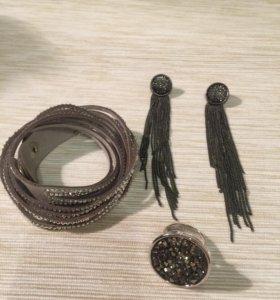 Набор браслет трансформер+серьги+кольцо (18,5)