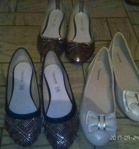 Продаю новые 3 пары балеток туфелек,38 р