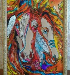 """Картина """"Лошади яркой осенью"""""""