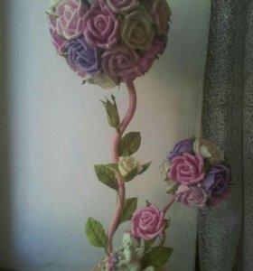 Топиарий с розами ручной работы