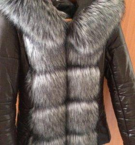 Куртка с мехом,пуховик женский эко-кожа