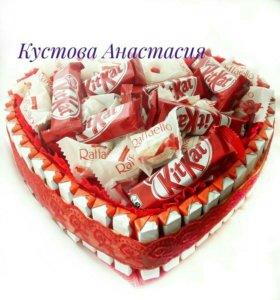 "Тортик со сладостями ""Сердце""№3"