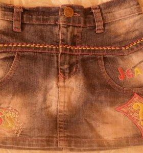 Юбка юбочка джинсовая с вышивкой с карманами р.8
