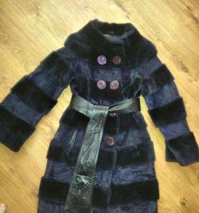Пальто шуба мутон и пони