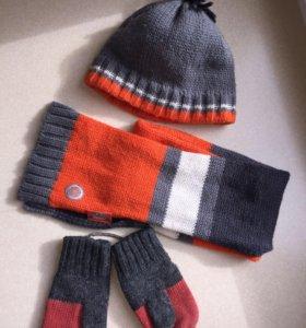 Шапка+шарф+ варежки Sela от 2-4