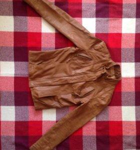 Куртка кожаная. 100% кожа. Коричневая.