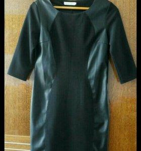 Черное платье, вставки из экокожи