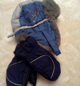 Зимняя шапка+ варежки