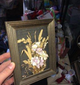 Картина декоративная искусственные цветы букет