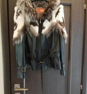 Новая кожаная куртка с мехом