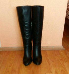 Кожаные сапоги евро-зима высота каблука 8см