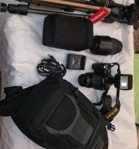Nikon d40+штатив,доп.объектив,доп.вспышка, рюкзак