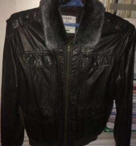 Куртка мужская, демисезонная, кожзам на меху